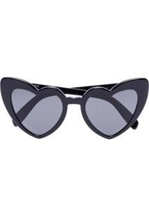 Saint Laurent Eyewear Óculos De Sol Em Forma De Coração Loulou - Preto