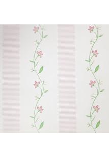 Kit 2 Rolos De Papel De Parede Fwb Floral Detalhes Rosa Fundo Branco - Tricae