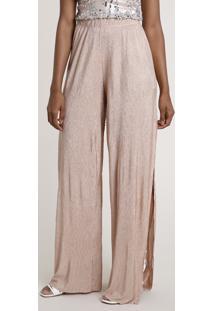 Calça Feminina Pantalona Acetinada Com Fenda Rosê