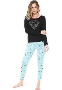 Pijama Malwee Liberta Estampado Preto/Azul