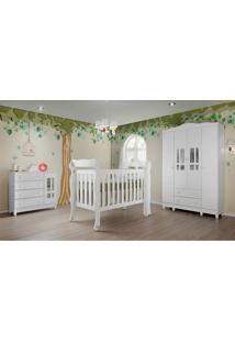 Dormitório Ariel Guarda Roupa 4 Portas Comoda Fraldário Berço Lila Branco Brilho Carolina Baby - Tricae