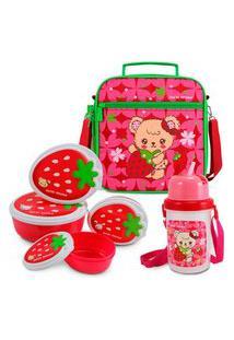 Kit Escolar Lancheira Necessaire Térmica + Kit Pote Lanches + Garrafa Squeeze Vermelho