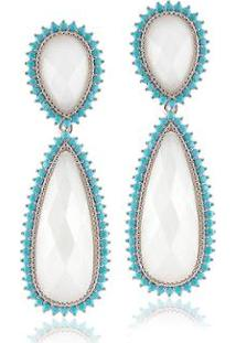 Brinco Giullia Ferraz Store Gota Feminino - Feminino-Azul+Branco