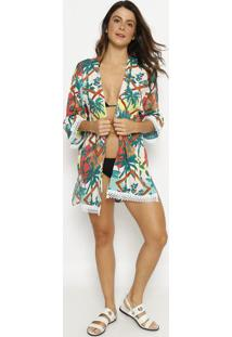 Kimono Com Crochãª- Branco & Verde Escuro- Patrapatra