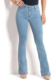 Calça Flare Jeans Clara Com Cintura Média Sawary
