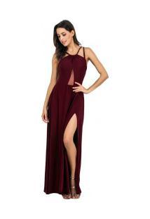 Vestido Longo Com Alças Transpassadas E Fenda - Vermelho Vinho