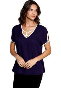 Blusa Bicolor Energia Fashion Marinho Azul Marinho