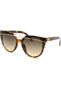 Óculos De Sol Atitude Feminino - Feminino-Dourado+Marrom