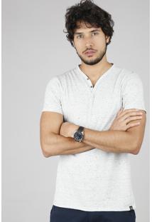 Camiseta Masculina Slim Fit Com Botões Manga Curta Gola V Cinza Mescla Claro