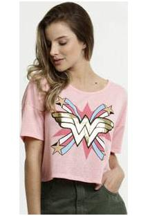 Blusa Feminina Cropped Estampa Mulher Maravilha Liga Da Justiça