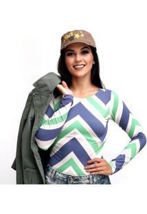 Blusa Ficalinda Manga Longa Proteção Uv Fashion 50+ Feminina - Feminino-Verde+Azul