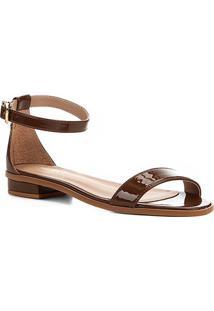 Sandália Shoestock Flat Tira Naked Feminina - Feminino-Avelã