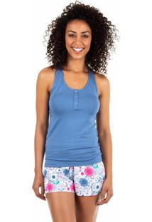 Pijama Curto Estampado Homewear Azul - 589.075 Marcyn Lingerie Short Doll Azul