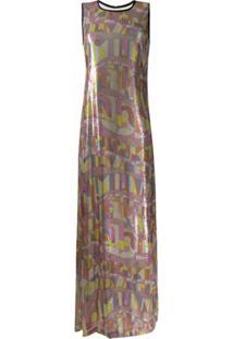 Emilio Pucci Vestido Longo Com Aplicação De Paetês - Colorido