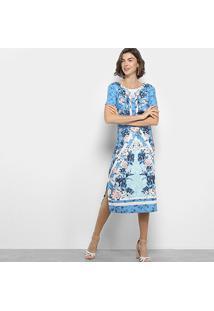 Vestido Lança Perfume Tubinho Midi Floral - Feminino-Azul