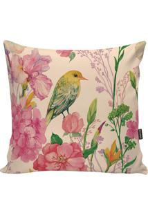 Capa Para Almofada Birds- Rosa & Verde- 45X45Cm-Stm Home