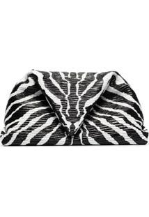 Bottega Veneta Clutch Envelope Com Estampa De Zebra - Preto