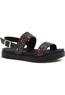 Sandália Dakota Rasteira Com Glitter - Feminino-Preto