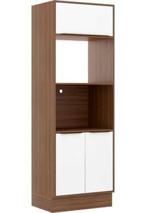 Armário De Cozinha 3 Portas Com Rodapé 5404R Nogueira/Branco - Multimóveis