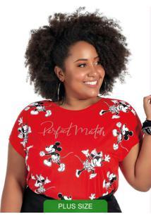 Blusa Manga Curta Estampada Vermelho