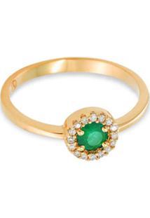 Anel Ouro Amarelo Diamantes E Esmeralda