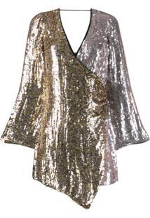 Pinko Vestido Envelope Bicolor Com Paetês - Prateado