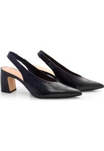 Sapato Chanel De Couro E Salto Bloco Suzzara