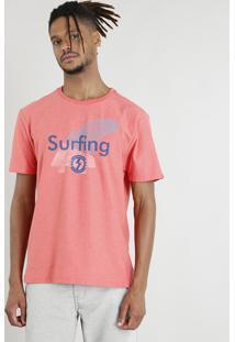 "Camiseta Masculina ""Surfing"" Manga Curta Gola Careca Coral"