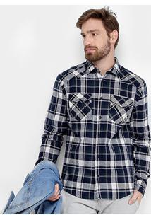 Camisa Xadrez Forum Flanela Manga Longa Masculina - Masculino-Marinho