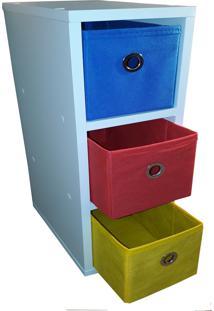Criado Mudo Gaveteiro Organibox Com 3 Gavetas 18X55X30Cm - Vermelho - Amarelo - Azul