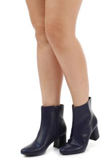 Ankle Boots Salto Grosso Lara Zíper