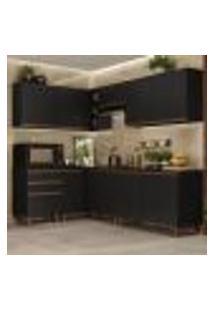 Cozinha Completa De Canto Madesa Reims 392002 Com Armário E Balcão - Preto