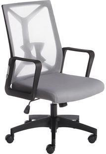 Cadeira Diretor Office Brasil Cadeiras Elegance Tela Mesh Cinza