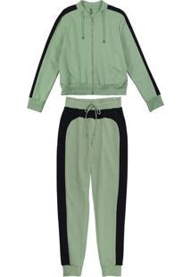 Conjunto Jaqueta E Calça Em Moletom Verde
