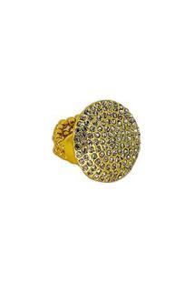 Anel Armazem Rr Bijoux Redondo Cristais Swarovski Dourado