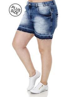 da180cc17a5092 Lojas Pompéia Short Jeans Plus Size Feminino Bivik Azul