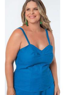Regata Almaria Plus Size Munny Prega Busto Azul