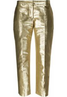 Alexander Mcqueen Calça Reta Com Efeito Metálico - Dourado