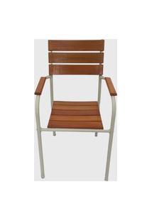 Cadeira De Madeira E Alumínio Desmontável Bege Pressa Móveis