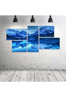 Quadro Decorativo - Blue-Landscape - Composto De 5 Quadros - Multicolorido - Dafiti
