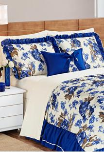 Colcha Aquarela Queen Estampada Com Babado Envolto - Sofia 4 Peças Azul