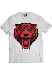 Camiseta Manga Curta Skull Clothing Tigre Branco