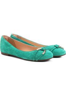 Sapatilha Couro Shoestock Elo Feminina - Feminino-Verde