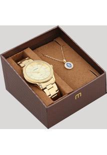 Kit De Relógio Analógico Mondaine Feminino + Colar - 99361Lpmvde1K Dourado - Único