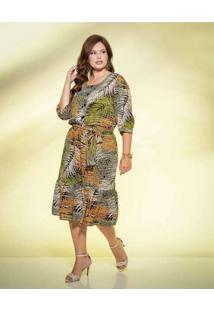 Vestido Almaria Plus Size New Umbi Midi Estampado