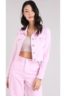 6da74fc3a4 ... Jaqueta Jeans Feminina Mindset Cropped Com Bolsos Rosa