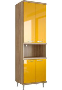 Módulo Para Forno 4 Portas Sicília Argila-Texturizada E Amarelo-Gema Multimóveis