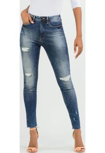 Calça Jeans Com Elastano Azul