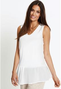 Blusa Assimétrica Com Babado Branca