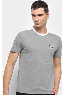 Camiseta Calvin Klein Mc Faixa Ombro Masculina - Masculino-Cinza